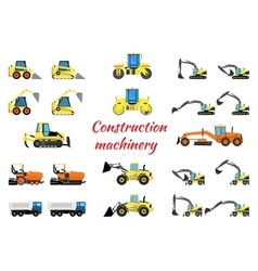 Set construction equipment vector