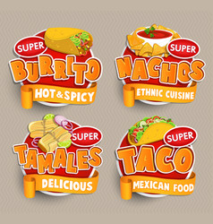Set od traditional mexican food logos stickers vector