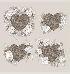 set of floral design frame with big heart vector image