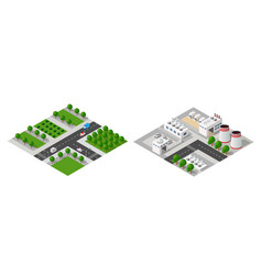 set of isometric modules vector image
