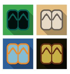 Set of japanese wooden shoes with an ornament vector