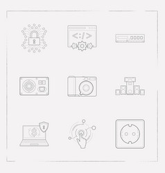 Set of tech icons line style symbols with sound vector