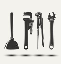 Set plumbers equipment vector