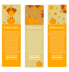 set thanksgiving banners with turkey pumpkins vector image