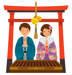 Shrine visit on japanese new year vector