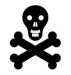 Skull and bones the black color icon vector