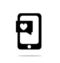 smartphone with heart chat icon flat style vector image