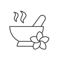 Spa salon mortar and pestle linear icon vector