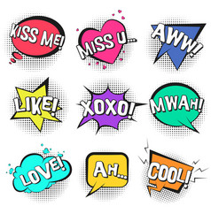 st valentines retro comic speech bubbles set vector image
