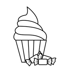 sweet candies with cupcake vector image