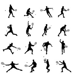 tennis player set of sixteen men vector image