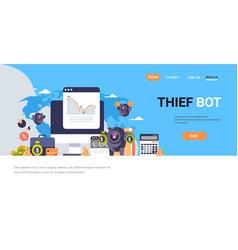 thief bot robot hacker graph money bags world map vector image
