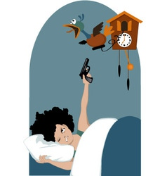 Tired woman and a cuckoo clock vector image