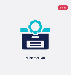 Two color supply chain icon from delivery and vector
