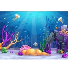 Underwater world cartoon vector