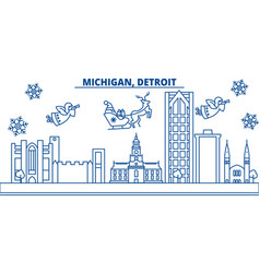 usa michigan detroit winter city skyline merry vector image