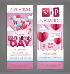 Valentines day invitation design with love heart vector