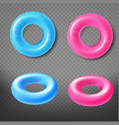 various color inflatable swimming rings 3d vector image
