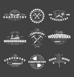 vintage carpentry labels vector image