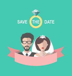 vintage wedding romantic invitation card vector image