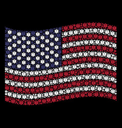 Waving american flag stylization of life star vector