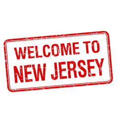 Welcome to new jersey red grunge square stamp vector