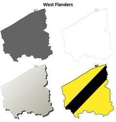 West Flanders outline map set - Flemish version vector