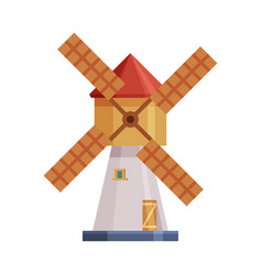 Windmill old traditional agricultural building vector
