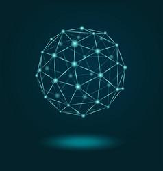 wireframe sphere glowing on dark blue background vector image