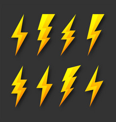 Yellow lightning bolt icons collection flash vector