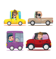 cars driver cartoon collection set vector image
