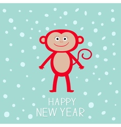 Cute red monkey on snow background Happy New Year vector image vector image