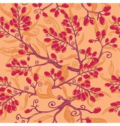 Fall buckthorn berries seamless pattern background vector image