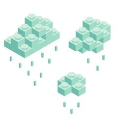 Isometric plastic building blocks and tiles vector