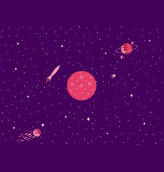 mars cosmic space a comet with a tail planets vector image vector image