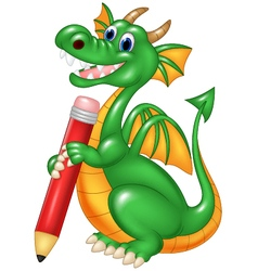 Cute dragon holding red pencil isolated vector image vector image
