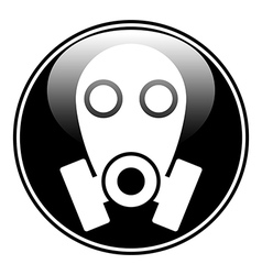 Gas mask symbol button vector image vector image