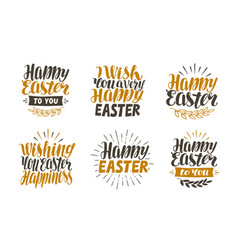 happy easter label set hand drawn lettering vector image vector image