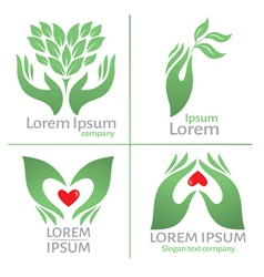 Logo with hand vector image vector image