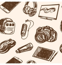 seamless pattern smart media devices and personal vector image