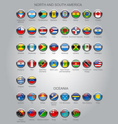 set of round glossy flags of sovereign countries vector image vector image