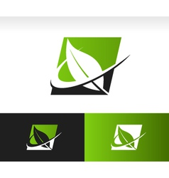 Swoosh Green Leaf Panel Logo Icon vector image vector image