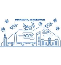 usa minnesota minneapolis winter city skyline vector image