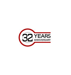 32 years anniversary with circle outline red vector