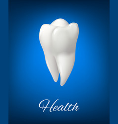 3d white tooth for dental care design vector image