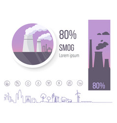 80 smog pollution poster with factory vector