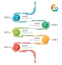 abstract 5 steps road timeline infographic vector image