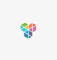 abstract cube hexagon construction logo design vector image