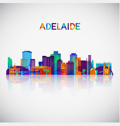 Adelaide skyline silhouette in colorful geometric vector