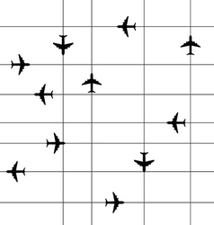 Airplane travel paradise set with line in black vector